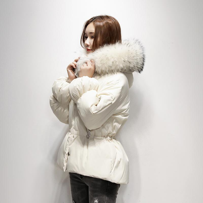 Damen Daunenjacke Korean Winter-weiße Ente Daunenjacke mit Kapuze Frau Waschbär-Pelz-Kragen-Jacken-Mantel-Parka 2020 KJ2932