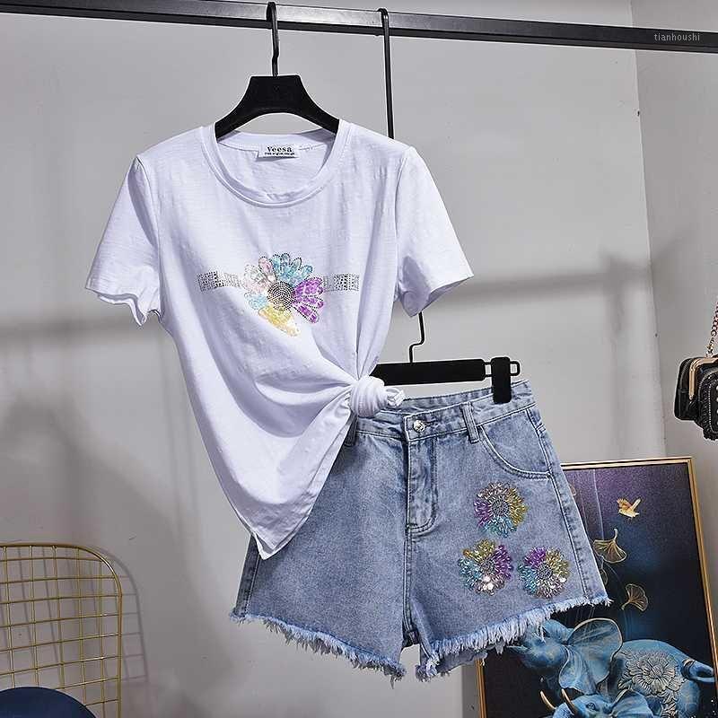 2020 летние женщины мода модные блестки маленькие ромашки хлопок с коротким рукавом футболка + два частя набор джинсовые шорты женская одежда H1661