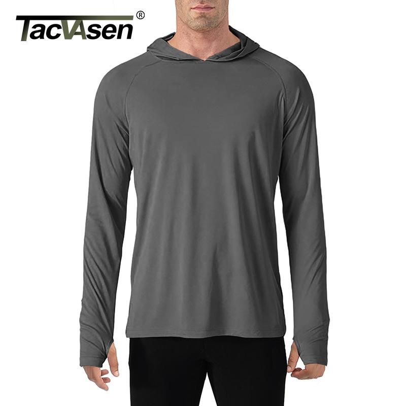 Tacvasen Güneş Koruma T-Shirt Erkekler Uzun Kollu Rahat UV geçirmez Kapşonlu T-Shirt Nefes Hafif Performans Zammı Tişörtleri 201004