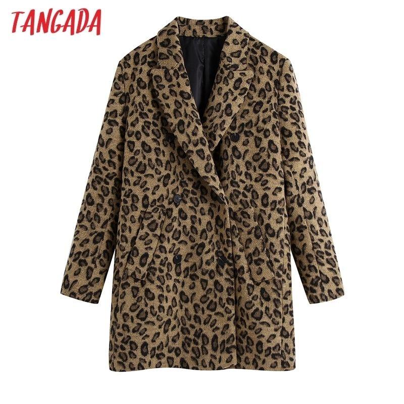 Tangada Femmes Automne Hiver Léopard Imprimer manteau en laine épaisseur manches longues de poche dames élégantes couchette LJ201201