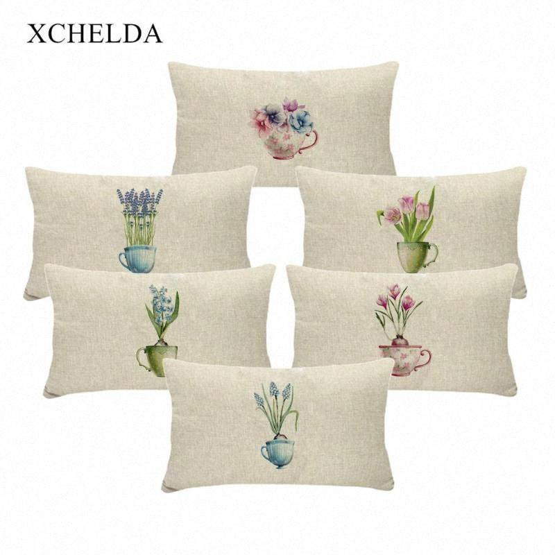 Kopfkissenbezug aus Baumwolle Vintage Feiertags Pillowcase Frühlings-Blumen-Rosa-Blumen 30 * 50 für Kinder Schlafzimmer Pelz Leinen Kissenbezug SzZS #