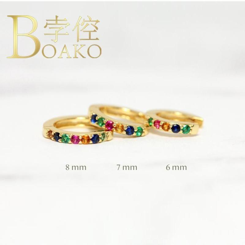 BOAKO argento 925 orecchini a cerchio per le donne Ins colorato zircone cerchi dell'orecchino Orecchini di lusso S925 Orecchini gioielli orecchio