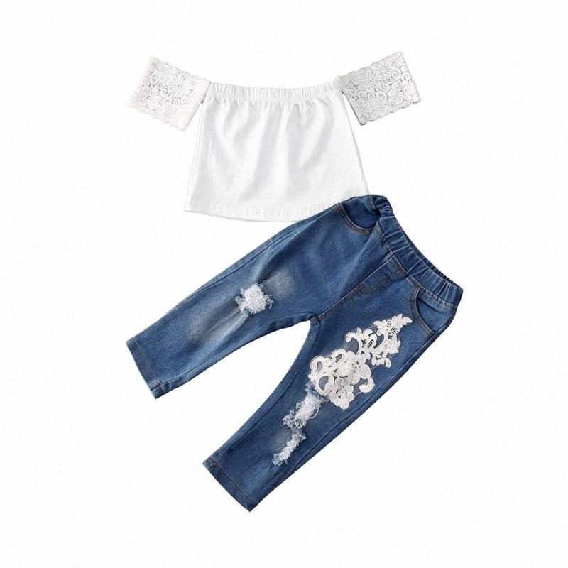 New Kids Girls camiseta Tops Flor Jeans Pantalones Trajes de verano Conjuntos de ropa 6 meses - 5 años 1Gyi #