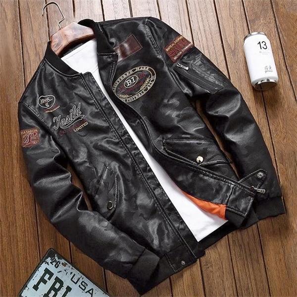 2020 Biker Vintage Rock&Roll Outwear Casual Bomber Jacket Men Spring Autumn Design Motorcycle PU Leather Coat C1103