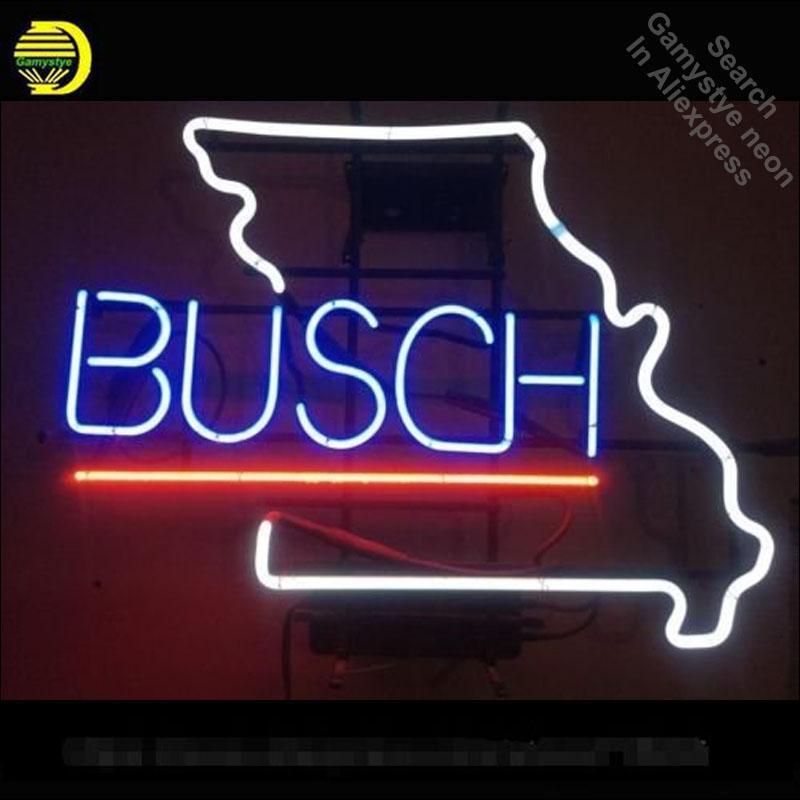 Segno al neon per Busch birra Missouri tubo al neon d'epoca Pup Affari segno artigianali Lampada espositori per negozi Articoli da regalo segno della luce della torcia elettrica