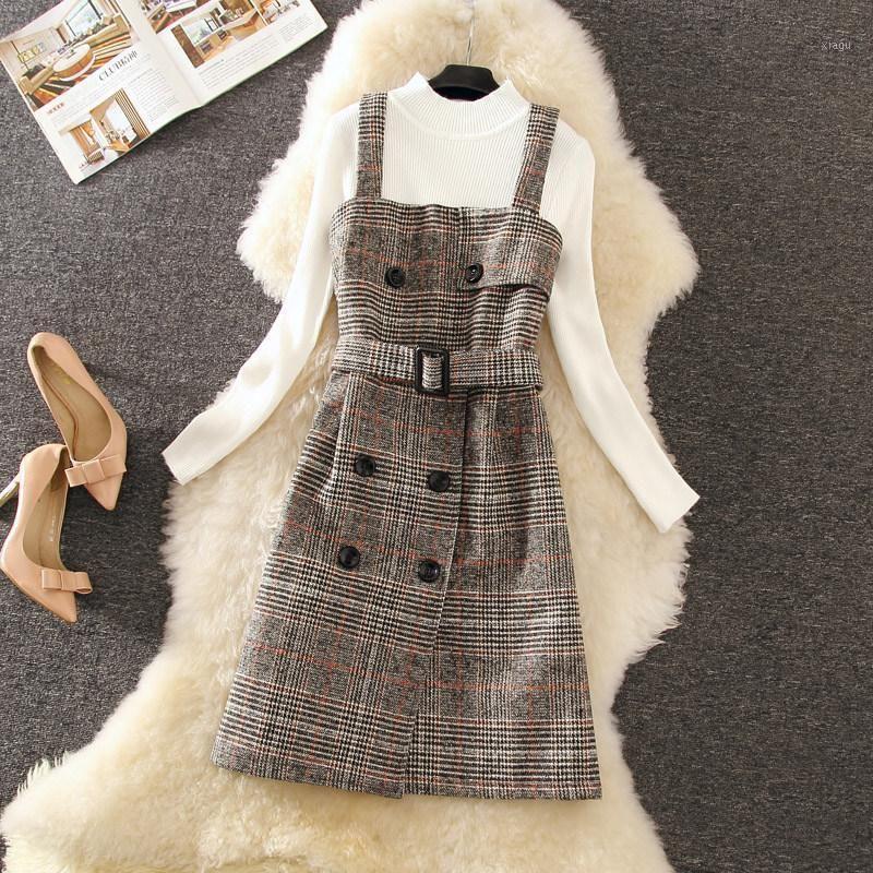 2020 New Herbst Eleganter Langarm Strick Pullover Pullover + Hohe Taille Mode Plaid Wollband Kleid Zweiteiliges Set1
