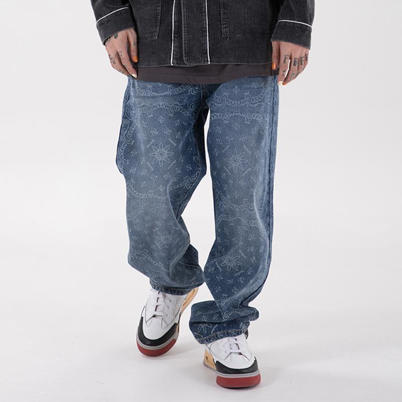 High Street Cópia completa lavada jeans casuais para homens e mulheres harajuku reto desgastado desgastado sarna calças retro jean calças
