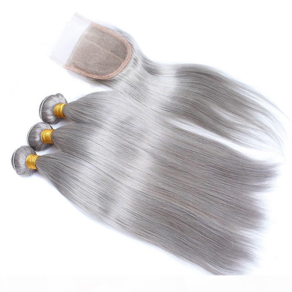 Argent gris Vierge péruvienne cheveux humains 3Pcs Bundles Offres avec fermeture de couleur gris Vierges Tissages cheveux avec 4xx avant de dentelle Fermeture 4Pcs Lot