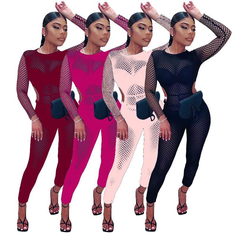 المرأة الطويلة حللا شبكة مطبوعة اللياقة البدنية أزياء طويلة الأكمام خمر تقسم قطعة واحدة bodycon الرياضة ارتداء الجوف خارج