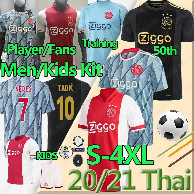 4XL عدد المعجبين لاعب امستردام FC AJAX بالقميص لكرة القدم 2020 21 تاديتش BLIND PROMES NERES كرويف MEN KIDS التدريب الزي الرسمي لكرة القدم 50