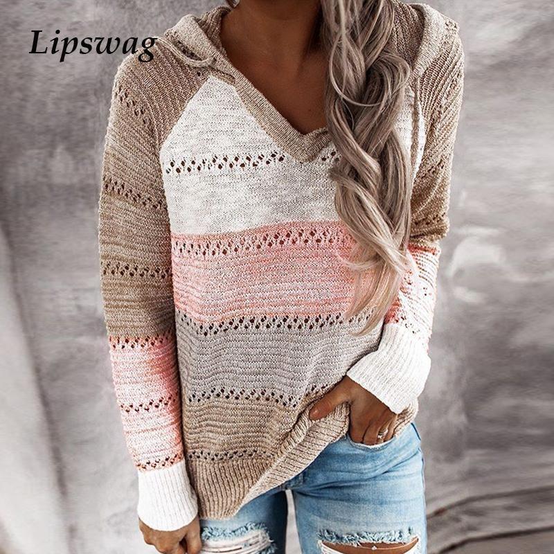 Женщины элегантный с длинным рукавом вязаный свитер с капюшоном осень полосатые свитеры V-образным вырезом Пулловеры Tops трикотаж зимний винтажный свитер 200930