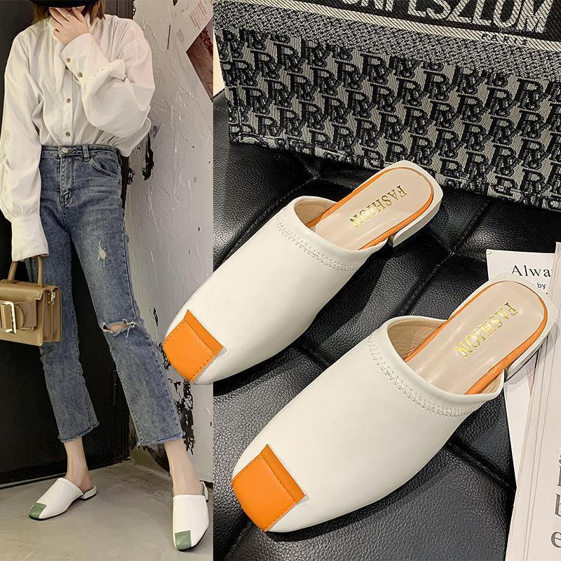 2020 Novas Mulheres Sapatos Mulheres Mulas Quadrado Capa Toe Quadrado Baixo Salto Saltos Retalhos Costura Sexy Senhoras Sapatos Feminino Chinelos Slides1