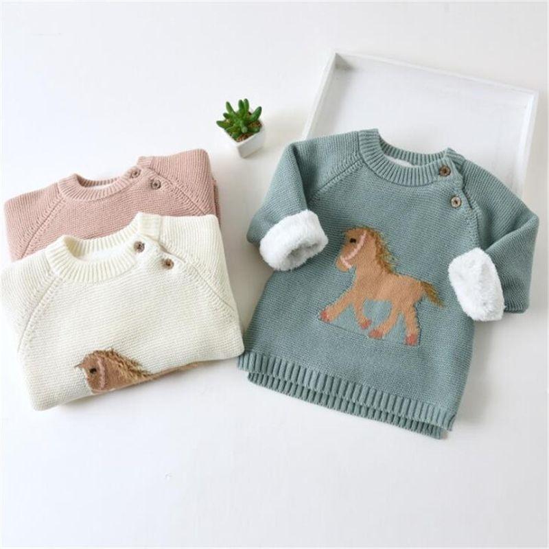 Вязаная детская одежда для девочек свитер младенческая одежда новорожденного мальчика свитера толстые флисовые детки свитеров для детей малыша CardiaGN 201103