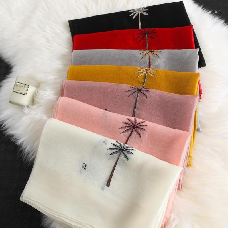 Scarves Real Silk Wool Scarf Floral Embroidery For Women 2021 Winter Shawls Hijab Wraps Bandana Poncho 1