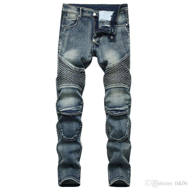 Strappato Via HIP HOP 2020 AUTUNNO Skateboard Primavera Uomo punk Stretch Bike jeans alla moda Fori ritratti jeans trouers