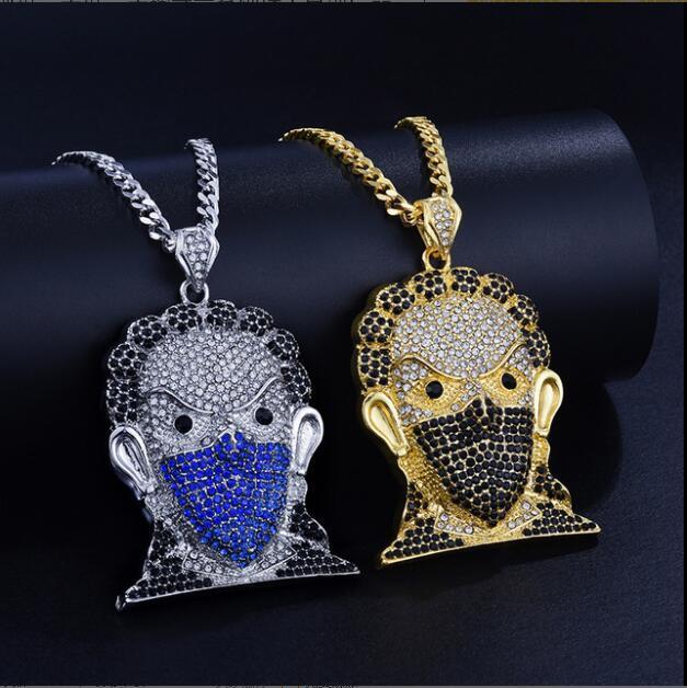 Gran máscara de la cabeza colgante de Hip Hop del collar de la joyería GD784 cadena de 30 pulgadas de acero inoxidable cubana