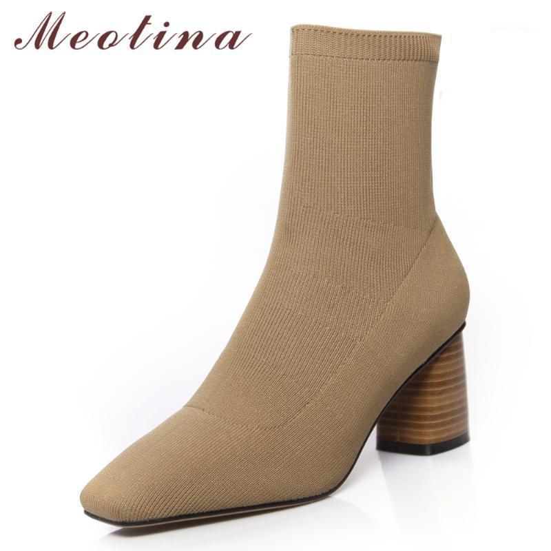 Bottes Méotina Femmes Femmes Chaussures d'automne Attention Étirement Chunky High High Talons Chaussette Fashion Carré Toe Short Dames Big Taille 34-421