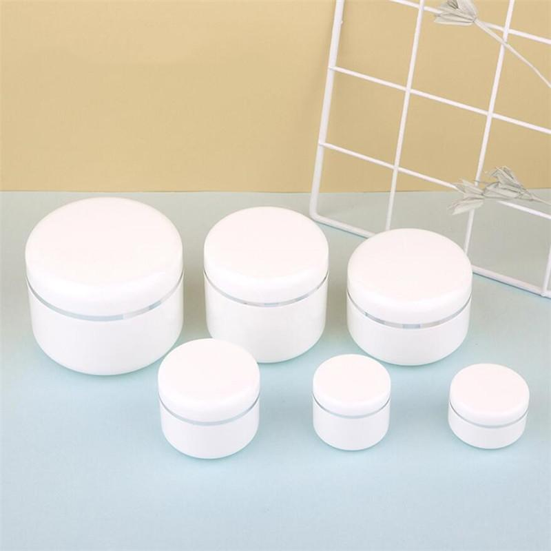 20g 30g 50g 100g 150g 200g 250g Empty Refillable Travel Cosmetic Bottles Plastic White Sample Packing Makeup Storage Container Jar