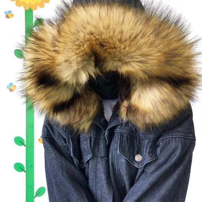 NewDiscvry большой меховой воротник женская джинсовая куртка 2020 зимний бархат толстые женщины пальто локомотив ягненок женские дамы короткое пальто Y200101