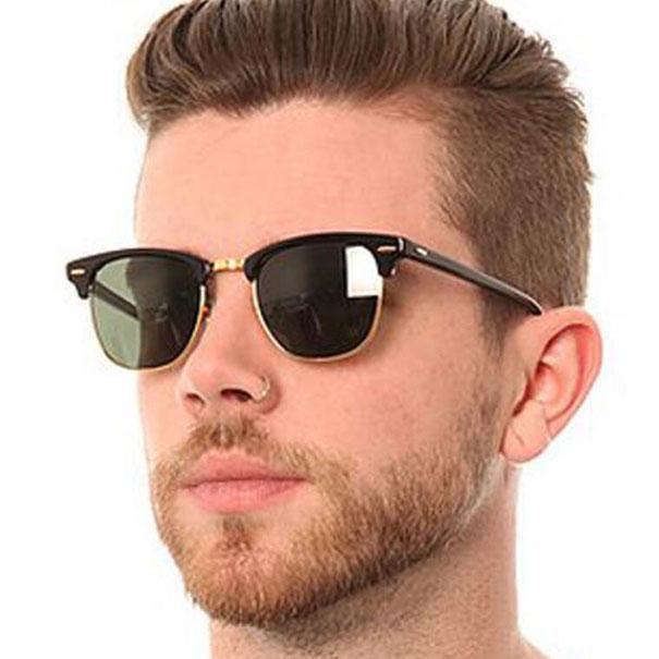 Classic Club Sunglasses Homens Mulheres Retro Moda Sunglass Designer Shades Gafas de Sol Espelhado Óculos 0P31 com casos