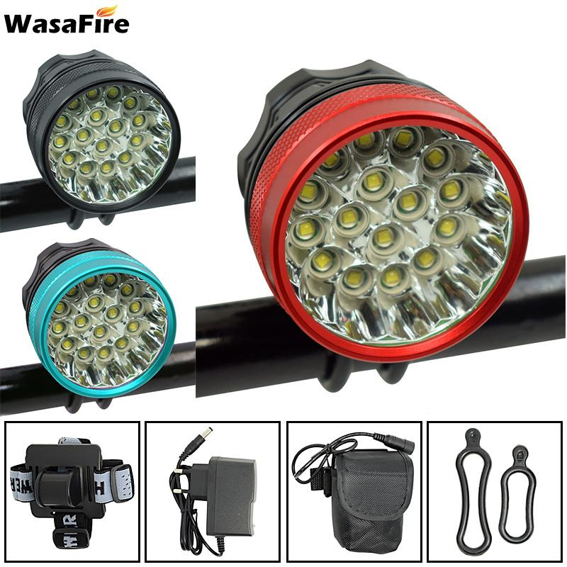 Wasafire Cycling Headlamp Bicycle Lights Headlight T16 XM-L LED 40000 Lumen Bike Front Light Lamp Rechargeable Q0113