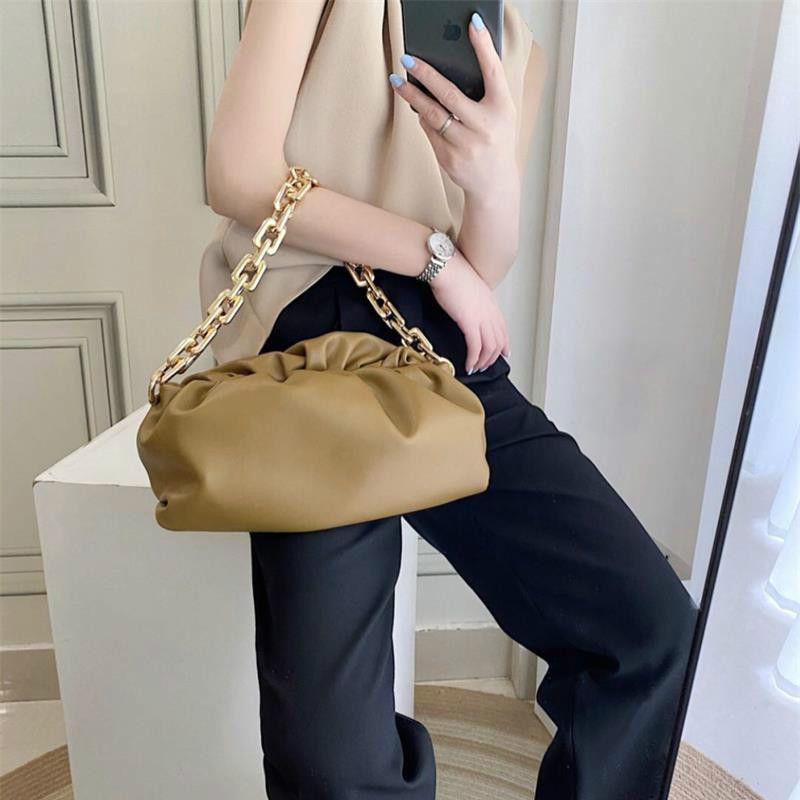 HBP النساء سميكة سلسلة سحابة حقيبة يد الكتف crossbody مطوي أكياس سحابة baguettes سيدة الإبط أوبز صغيرة متعددة الألوان الصلبة