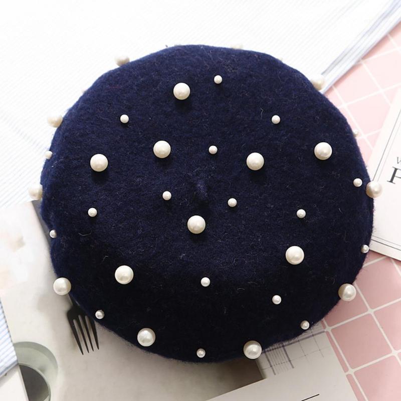 2020Fashion Kadınlar Sonbahar Kış Katı Renk Faux Inci Bere Şapka Sıcak Ressam Cap1