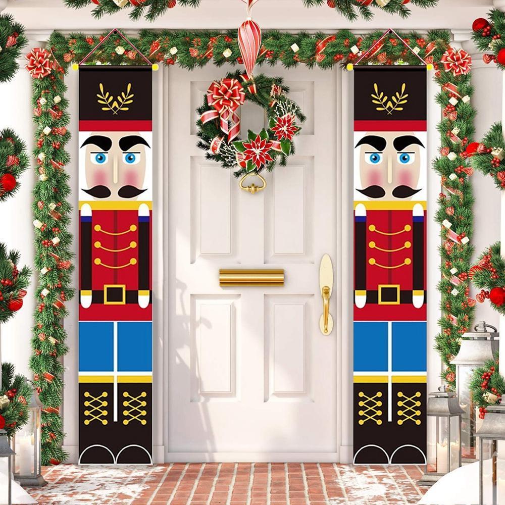 Nussknacker-Soldat Weihnachten Banner Frohe Weihnachten Dekor für Haus 2020 Weihnachtstür Dekor Weihnachten Navidad Noel Geschenke Neujahr