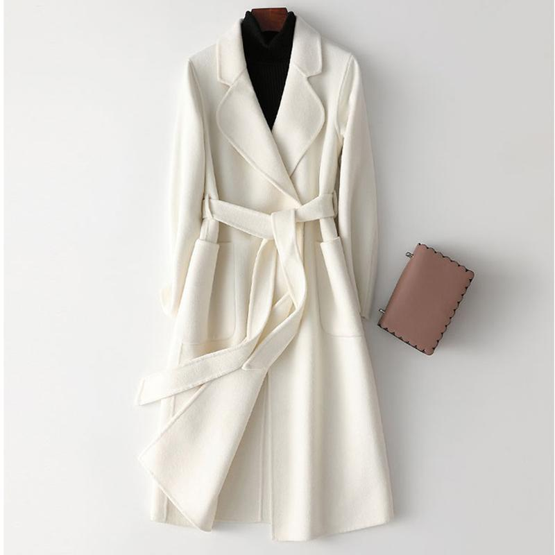 2020 Outono Mulheres White dupla face casaco de cashmere inverno de alta qualidade Moda Mid-length elegante sobre o joelho Brasão Z562 lã