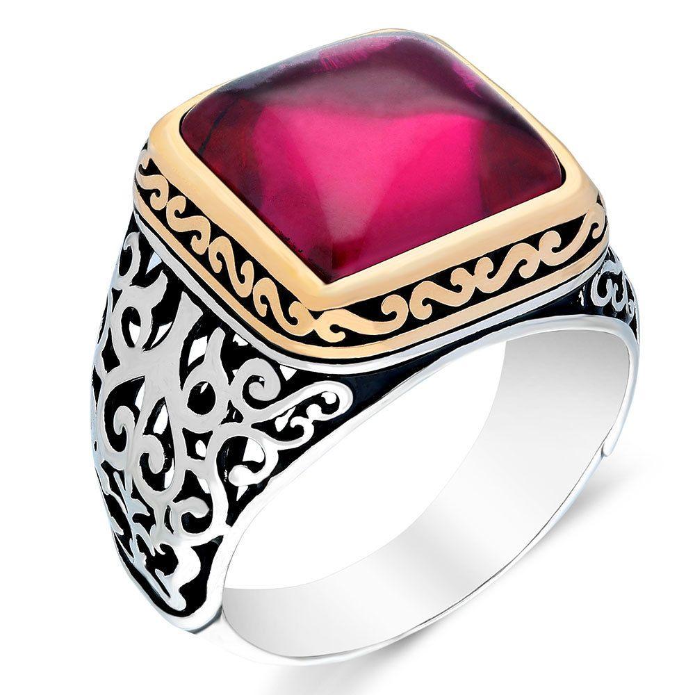925 anel de prata esterlina para homem real rubi puro lapis turquesa ágata esmeralda zircon pedras artesanais turcas jóias j1208