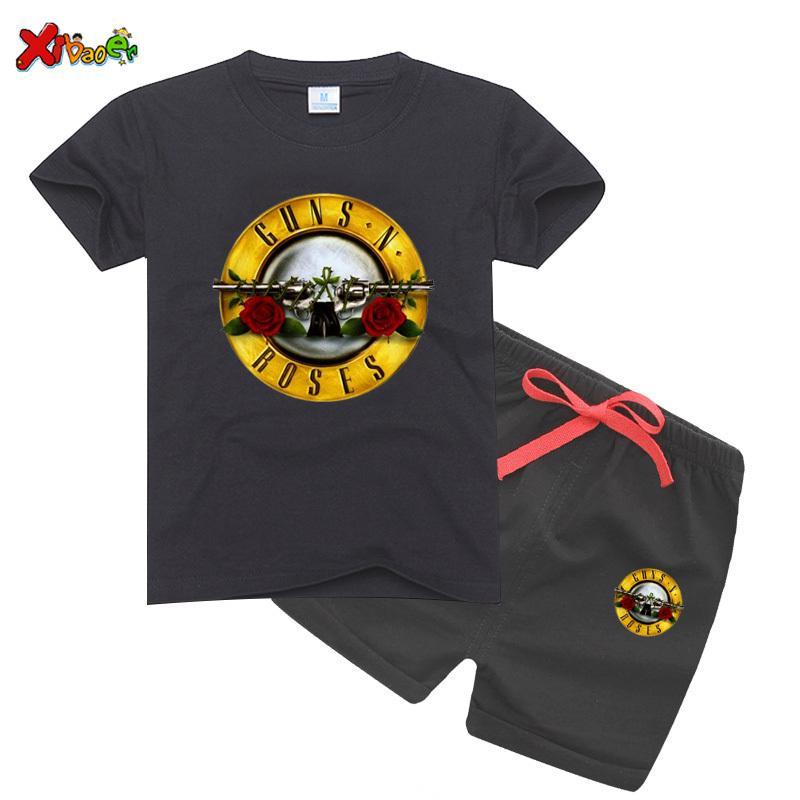 Bambini Slash Rock Band Pistola N Rose Design T Shirt Boys Girls Great Casual Girls Sets Manica corta Bambini vestiti T-shirt Set 201017