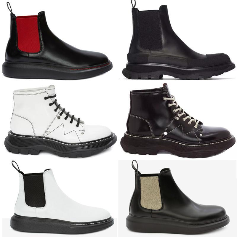 2021 Ernsthafte Frauen Reifen Up Chunky Profilsohlen Sohle Wellenförmige übergroße Gummi Runde Tehe Black Platform Calf Leder Pull-On Ankle Boots Schuhe