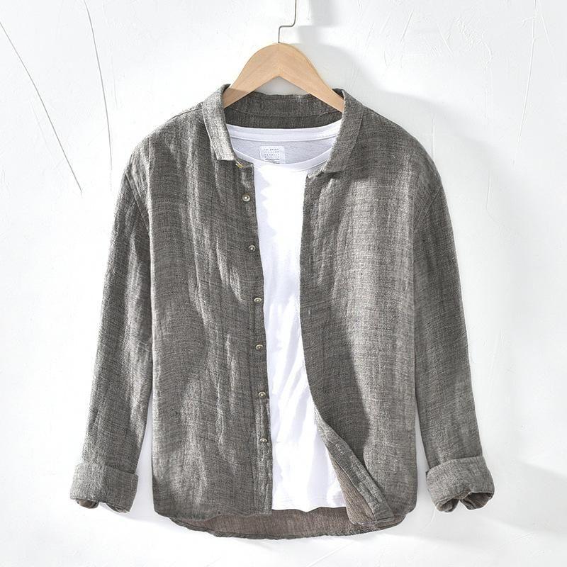 Sólido clásico 100% lino camisas manga larga para hombres camisas ocasionales de calidad superior del vestido de lino puro macho Camisas de ropa TS-586