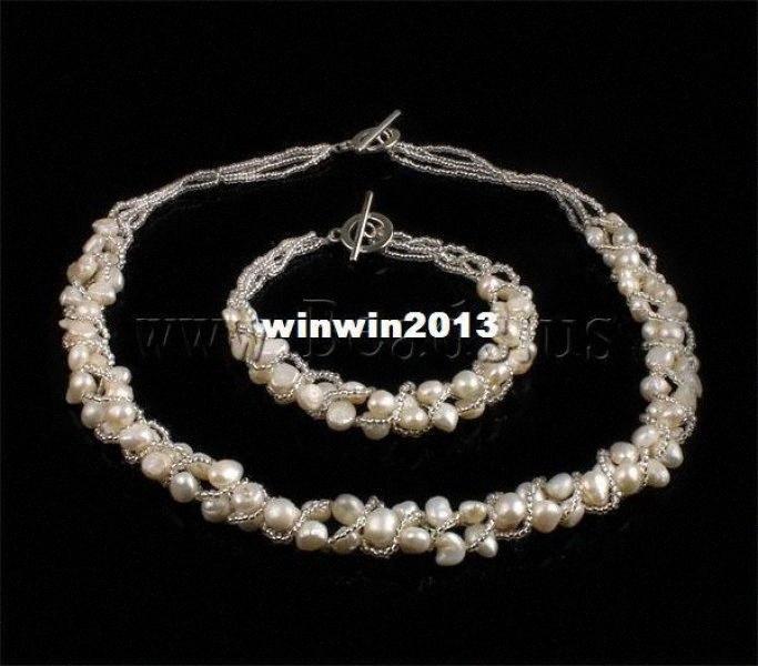 БЕСПЛАТНАЯ ДОСТАВКА Оптовая серия ожерелье браслет белый Природные пресной воды Pearl с бисер Свадебный комплект ювелирных изделий невесты Jppc #
