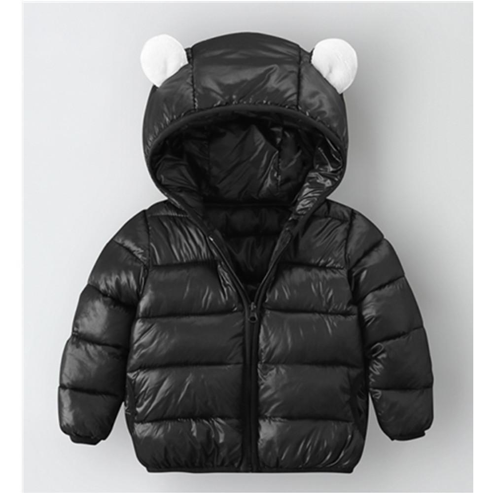 Зима пуховик для девочек мальчики дети детская одежда сплошные 3d уши с капюшоном падение детское теплые пальто застежки на молнии 201127