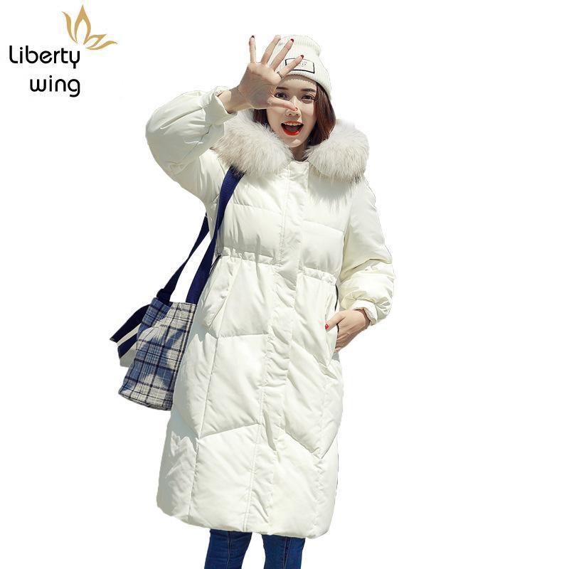 Hiver Femmes Blanc Chaud Doudoune Femme Manteau de fourrure Hiver Fashion collier à capuchon Manteau Casual Loose Fit épais Pardessus