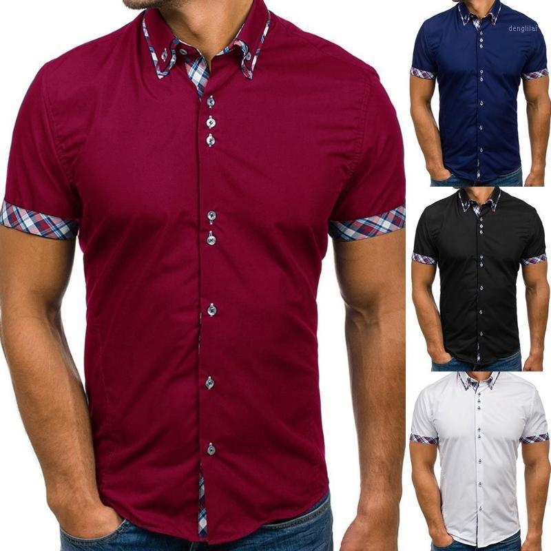 Moda homens camisas de negócios botões recolher colarinho de manga curta camisa slim tops escritório t-shirt superior plus tamanho solto camisas1