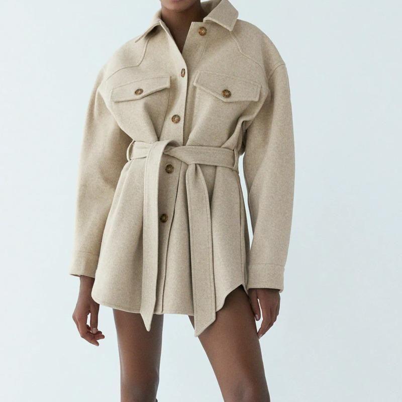 Chaqueta de mujer con cinturón 2021 Nuevas chaquetas sueltas Abrigo Mujeres Invierno Vintage Bolsillos laterales Femenino Outerwear Chic abrigo