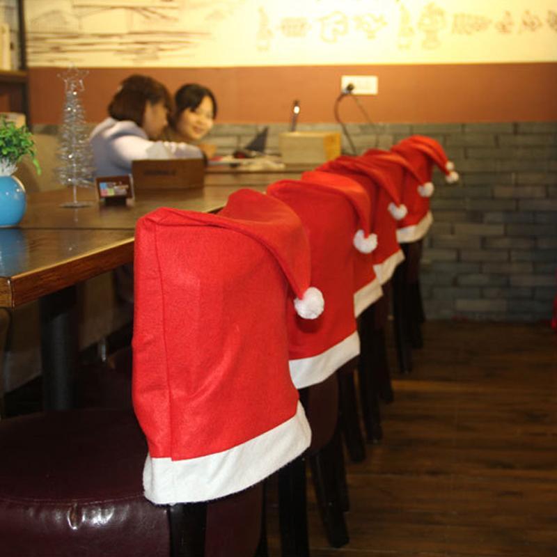 Chair di Natale copertina creativo Red Seat Covers Buon Natale Cappello vacanze Ornamenti Ristorante sede della sedia Tatuaggi VT1838