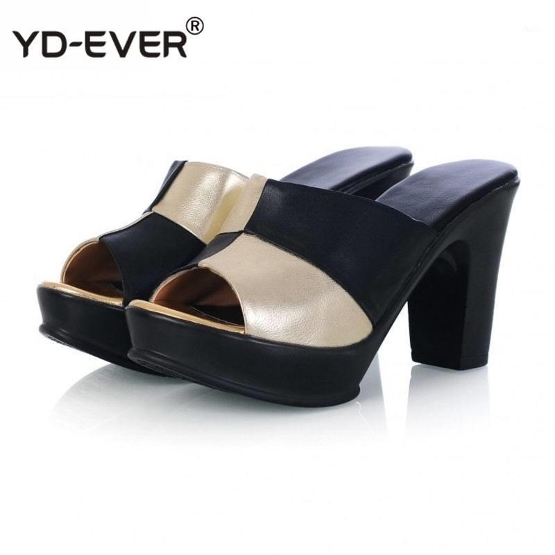 Nuevas mujeres de cuero de vaca sandalias de cuero genuinas zapatillas zapatos de verano zapatos de verano tacones altos mujeres flip chanclas bombas mujer1