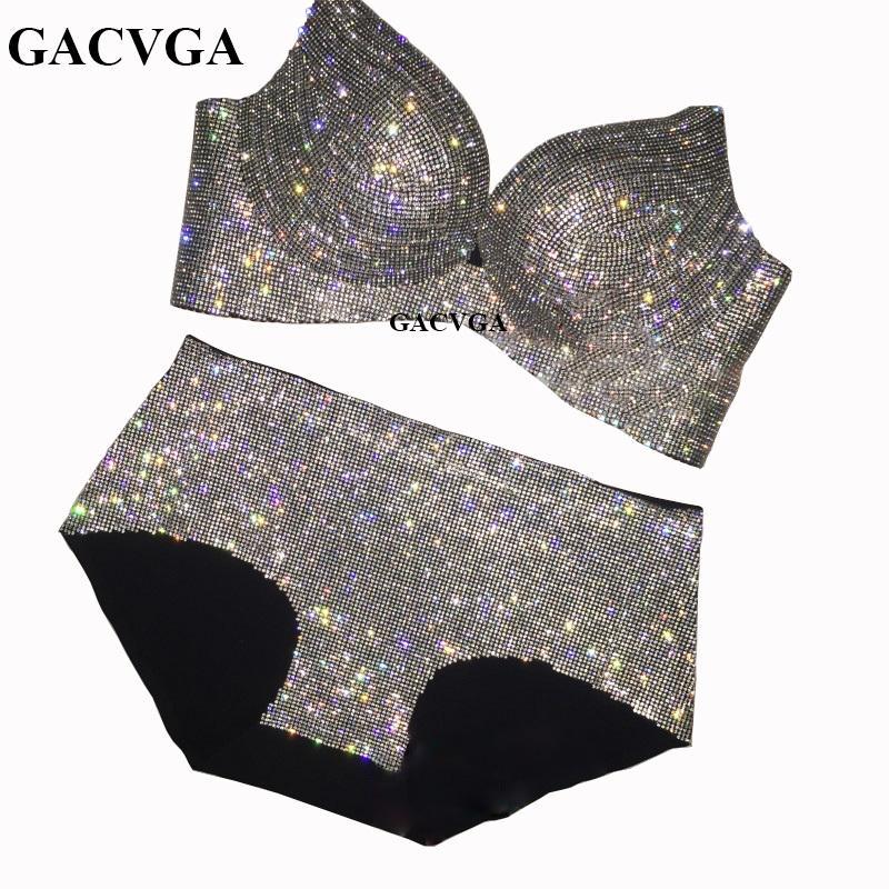 Gacvga Crystal Mesh été femme Crop Top Brillante Débardeur dos nu Gilet sexy soutien-gorge de plage Maillot de bain femme Bust chaîne Y200930