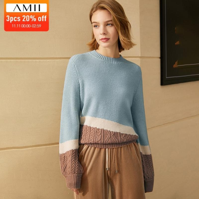Amii بساطيات الشتاء البلوزات للنساء الأزياء المرقعة oneck فضفاض الإناث السترة السببية النساء قمم LJ201112