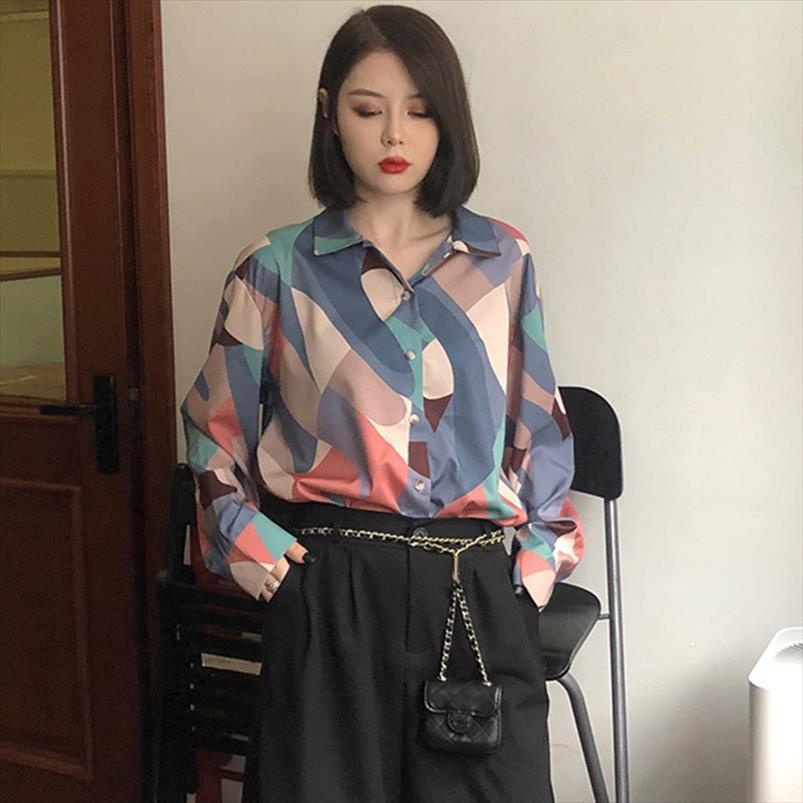 Blusa de pintura al óleo retro Mujeres Blusa de gasa sueltas coreanas Camisas de manga larga Camisas de moda Zapatología Casual XL