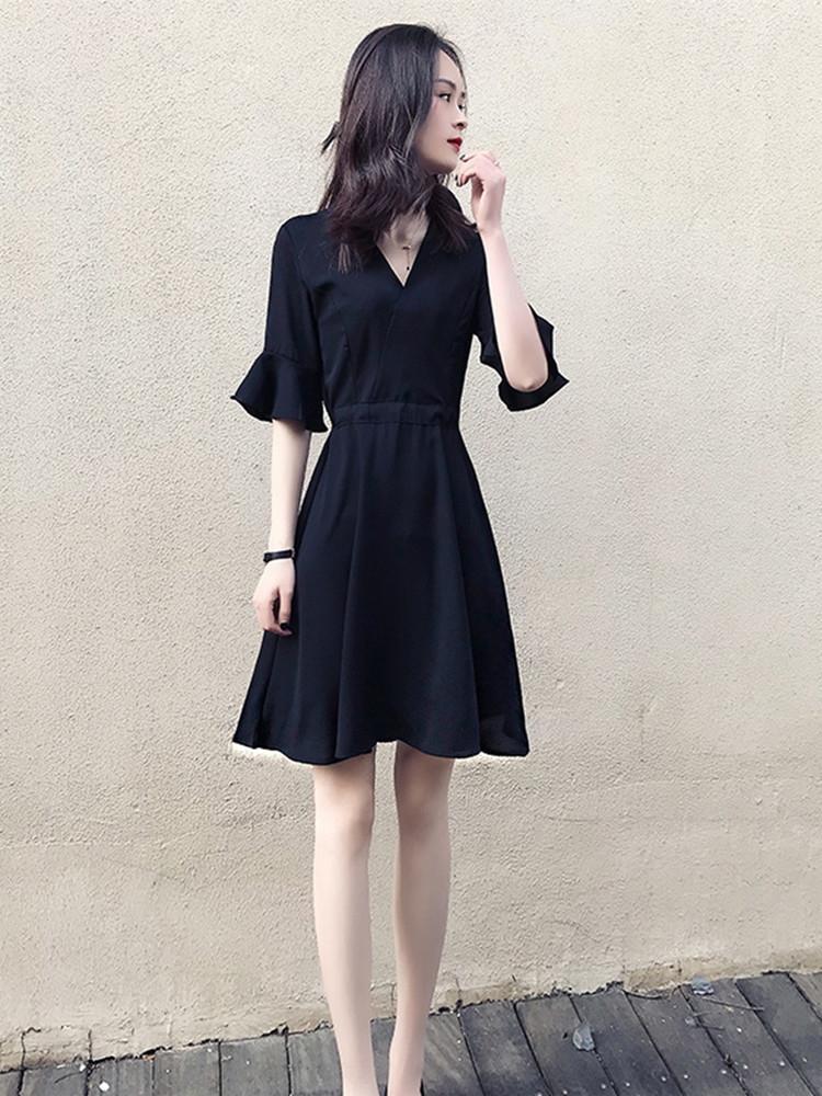 Estilo Hepburn primavera 2020 e verão nova versão coreana da cintura fechando de forma magro dressdress vestido cor dresssolid tendência de moda feminina 6U