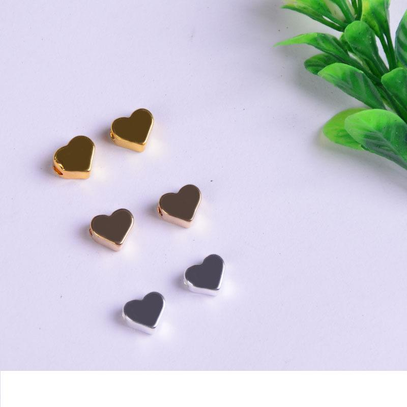 2 milímetros grande furo solta pérolas charme Para Pandora DIY Jóias BraceletNecklace Coração em forma de Componentes Gold / Silver / Gun Jóias preto