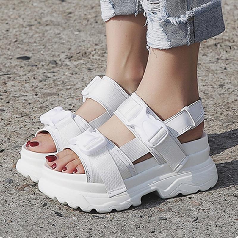 Women Sandals Buckle Design Black White Platform Sandals Comfortable Women Thick Sole Beach Shoes White Summer Flat 2020