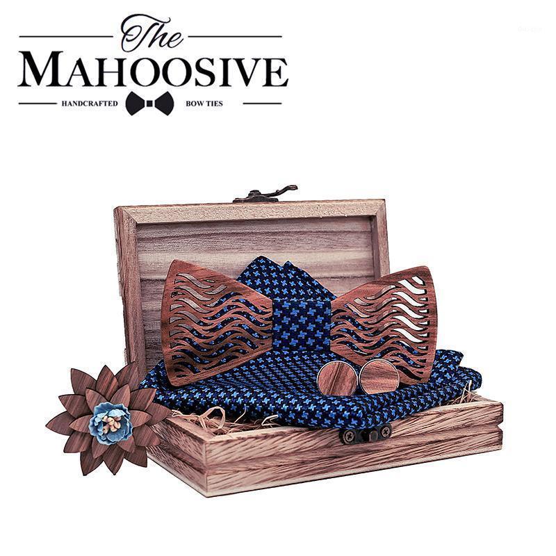 Partido de la corbata de lazo de madera con pañuelo de madera Bowtie Handkerchief Neckptie Silk Body Hombres Box1 Gemelos Conjunto de regalo Kgena