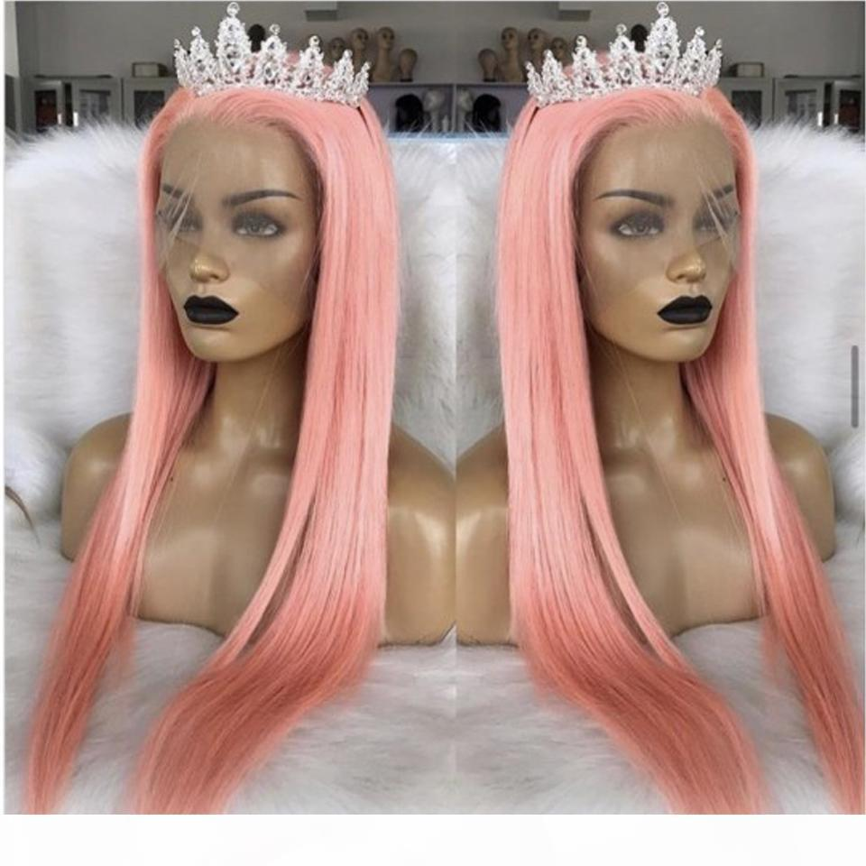 Color rosa cordón recto peluca frente transparente encaje recto humano pelucas humano peruano remy frente cabello humano pelucas bob bob
