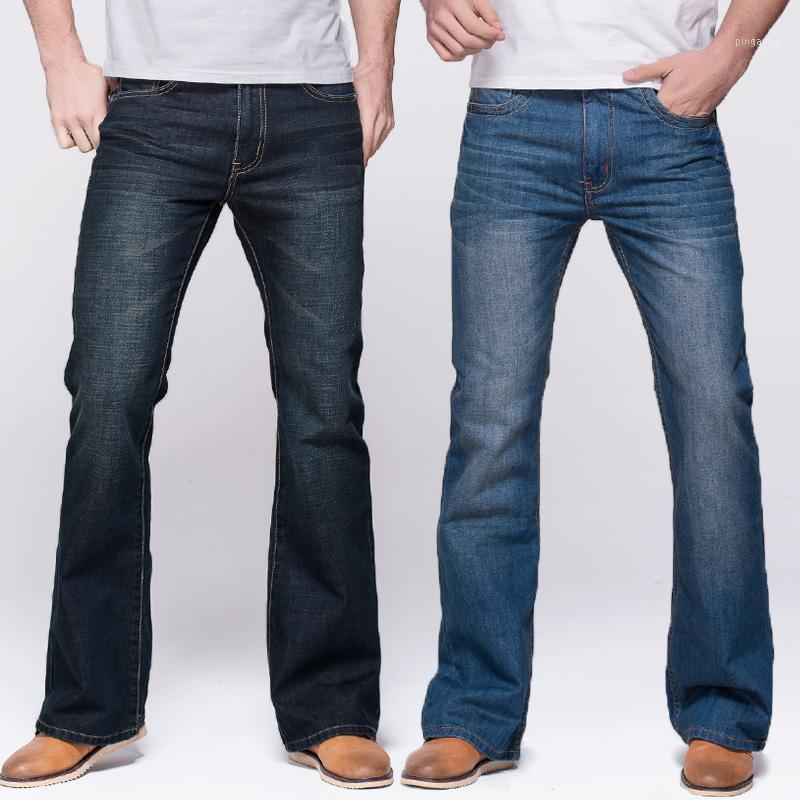 Jeans maschile GRG Mens Stivale Cut Leg Fit Fit Classico Stretch Denim Flare Deep Blue maschio Pantaloni moda11