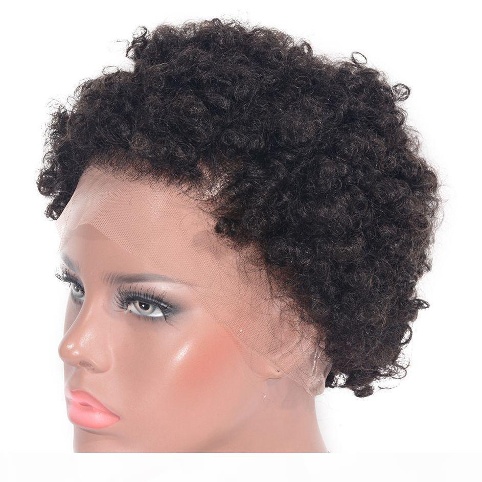 Kadınlar için Peru Afro Kinky Kıvırcık Tam Dantel Peruk İnsan Saç Peruk Jet Siyah Tutkalsız Dantel Peruk